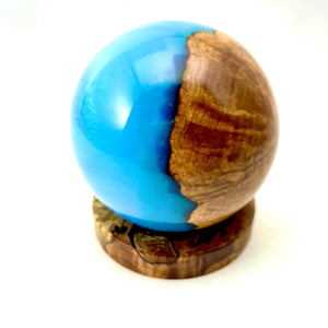Hybrid Australian Red Mallee Burl Sphere and Maple Burl stand / Home Decor