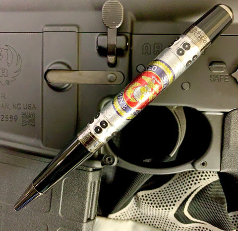 (B) Licensed USMC Bolt Action or Sierra Pen! Embossed Aluminum with the Marines emblem/logo emblazoned across it. Beautiful pen to show off!