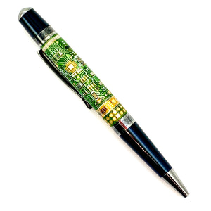 Circuit Board twist pen, made from real circuit board, high pressure cast, turned and polished by hand. Perfect gift for the techno nerd.