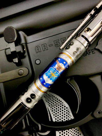 Licensed U.S. Air Force Pen! Embossed weave aluminum, boiler plate caps, Steampunk style. Choose from the PSI Bolt Action/Mag or Sierra pen!