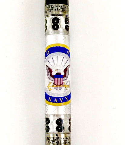 Officially licensed U.S Navy Bolt Action or Sierra Style Pen! Embossed Aluminum with the Navy emblem/logo emblazoned across it.