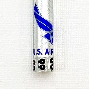 Licensed U.S. Air Force pen blank! Fits any Bolt Action/Mag or Sierra pen kit in embossed weave aluminum, boiler plate caps, Steampunk style
