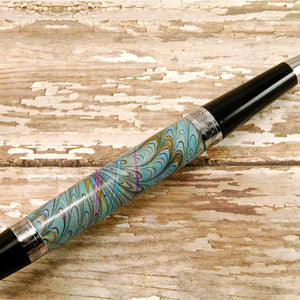 Italian Marbled Paper Pen (Teal)