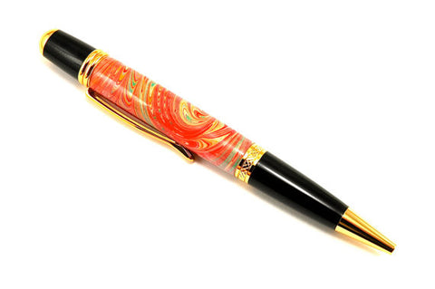 Italian Marbled Paper Pen (Orange)