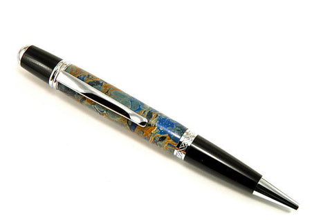 Italian Marbled Paper pen (Blue)