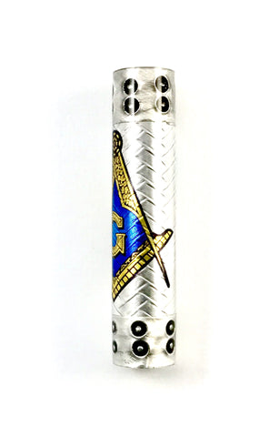 "Masonic ""Tube-In"" pen blank, finished in our proprietary ""Hybrid Steampunk"" with boiler plate caps and embossed aluminum!"