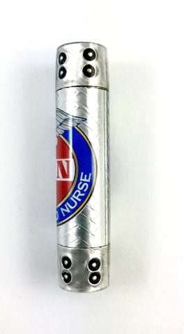 "Registered Nurse Twist Pen blank, finished in our proprietary ""Hybrid Steampunk"" with boiler plate caps and embossed aluminum!"