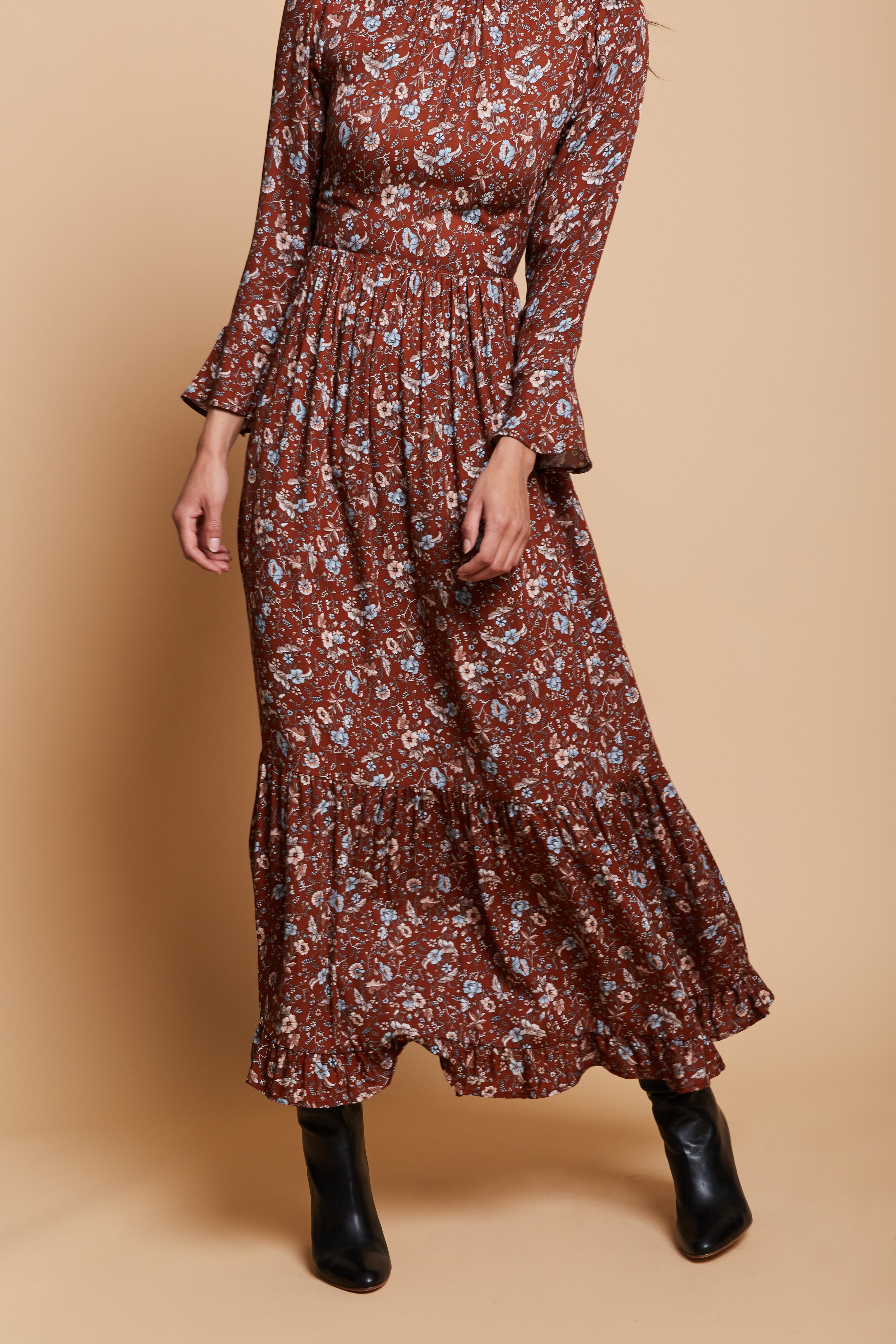 Molly Floral Dress - Brown