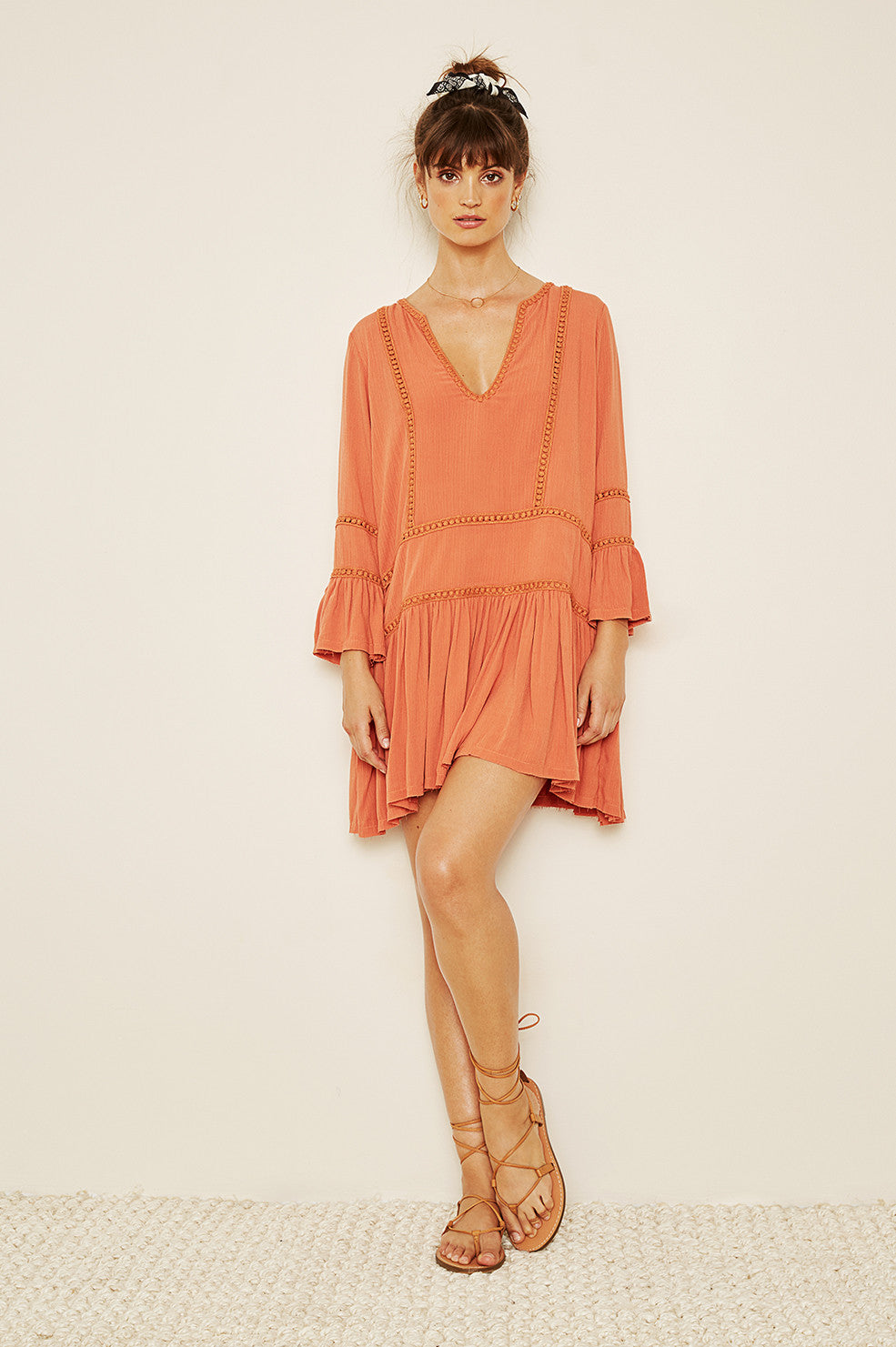 Lovely Pepa Collection | Monaco Drop-Waist Dress in Burnt Orange
