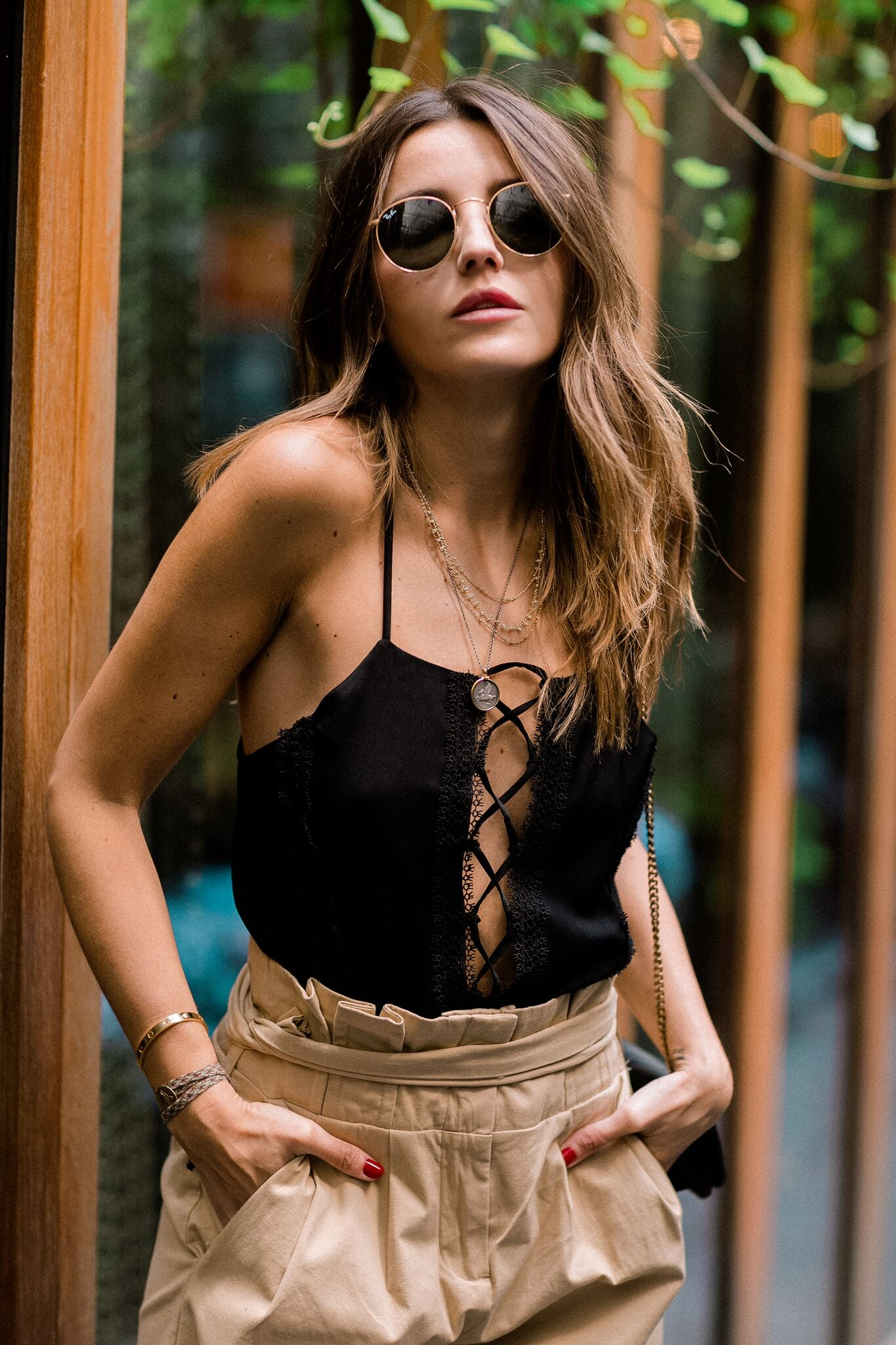 Lovely Pepa Collection | Shiraz Lace-Up Camisole in Black