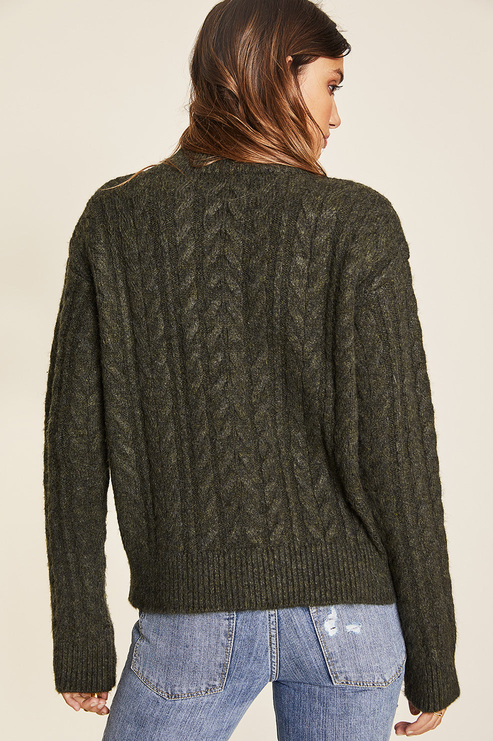 Lovely Pepa Collection | Vermont Cable Knit Sweater - Army Green