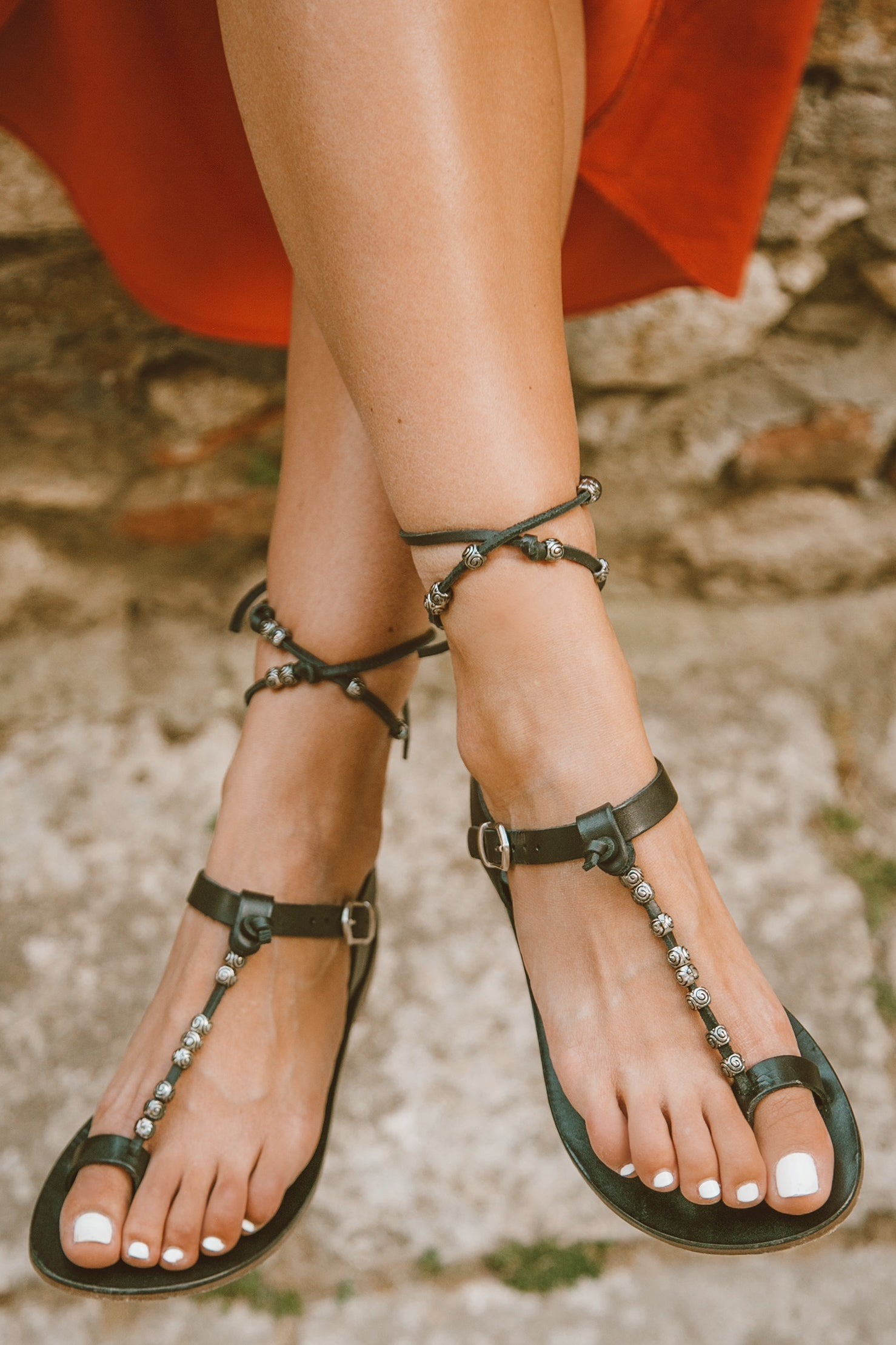 Fey Leather Sandal - Black