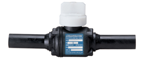 "sdr11 hdpe butt fusion ball valve. standard port with 2"" square operator nut, 200 psi,  1-1/4""   5/box   B45"