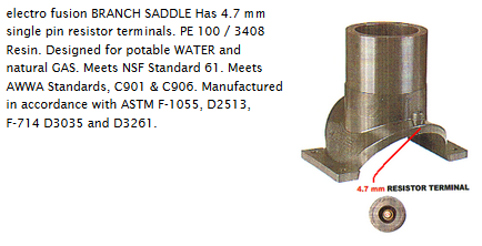 "3""x1"" Electrofusion Saddle with 1"" MIP 304 SS outlet   E34"