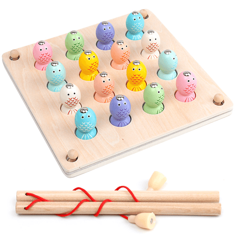 Wooden Magnetic Memory Chess Fishing Puzzle