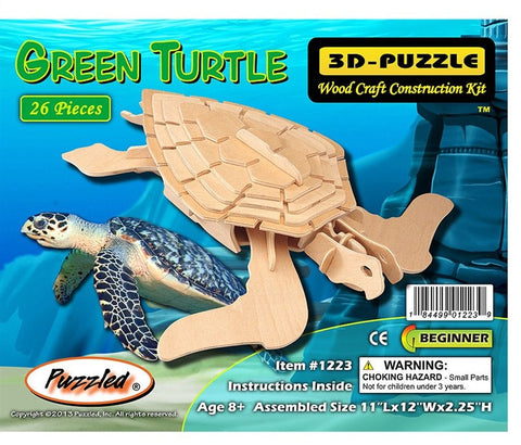 3D Puzzles - Green Turtle (26 pcs)