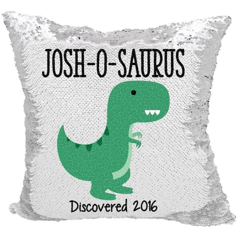 Personalized O-Saurus Dinosaur Reversible Sequin Pillow Case