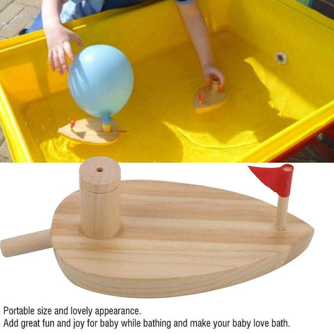 Pine Wooden Toy Balloon Boat