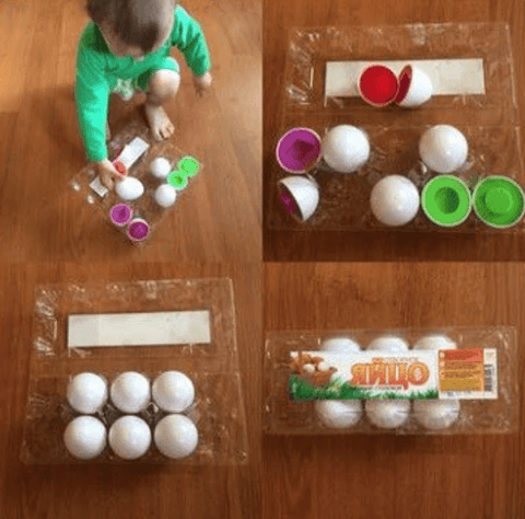 Matching Shapes and Colors Puzzle Eggs - 6 PCS