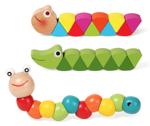 Wooden Worm Colorful Shape Animal Grasp & Twist Toy
