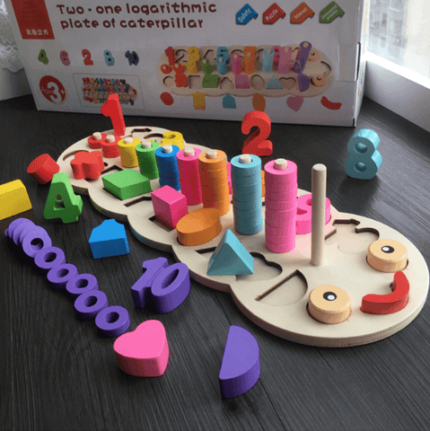 Wooden Montessori Digital Shape Match Early Education Math Toy