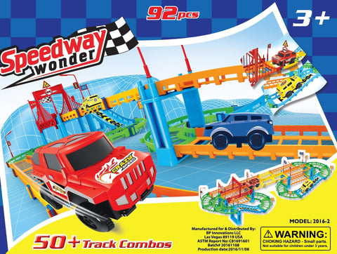 (Two Sets) 2 X  Speedway Assembly Adventure (92 piece)