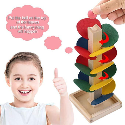 Sensorial Wooden Leaves Marble Run Toy
