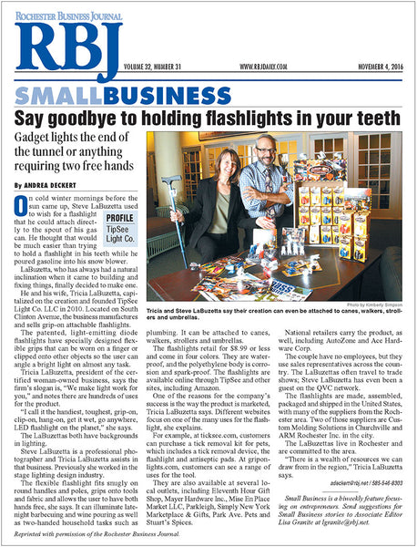 TipSee Light Company article in Rochester Business Journal's SMALL BUSINESS, a biweekly feature focusing on entrepreneurs
