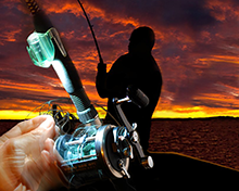 Untangling tackle during an evening fishing excursion using Grip-On LED Flashlight