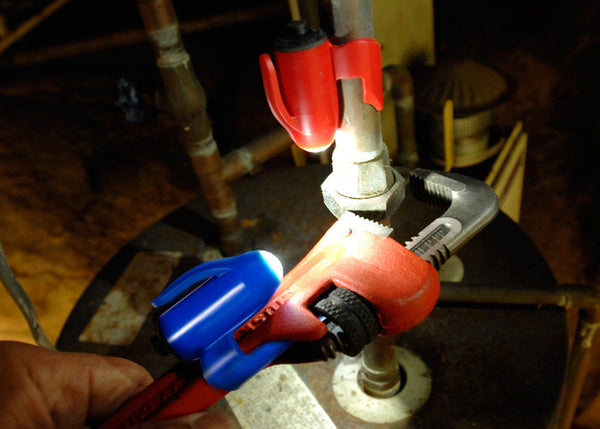 Grip-On LED Flashlights will clamp onto a pipe or clip-on to your wrench, keeping your hands free for the job at hand