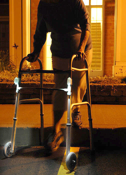 Attach a couple of Grip-On LED Flashlights to your walker and have a pair of headlights where ever you go at night!