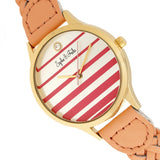 Sophie & Freda Tucson Leather-Band Watch w/Swarovski Crystals - Gold/Coral