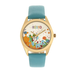 Related product : Crayo Graffiti Leather-Band Watch - Gold/Powder Blue