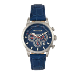 Related product : Morphic M60 Series Chronograph Leather-Band Watch w/Date - Silver/Blue