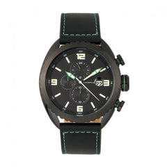 Related product : Morphic M64 Series Chronograph Leather-Band Watch w/ Date - Black/Green