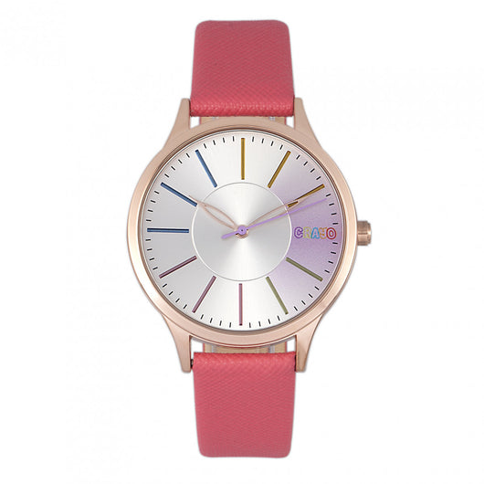 Crayo Gel Leatherette Strap Watch - Coral