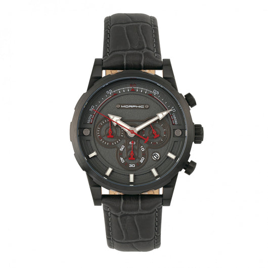 Morphic M60 Series Chronograph Leather-Band Watch w/Date - Black/Charcoal