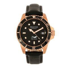 Related product : Heritor Automatic Lucius Leather-Band Watch w/Date - Rose Gold/Black