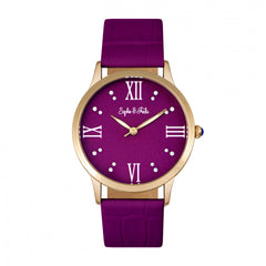 Related product : Sophie & Freda Sonoma Leather-Band Watch w/Swarovski Crystals - Gold/Fuchsia