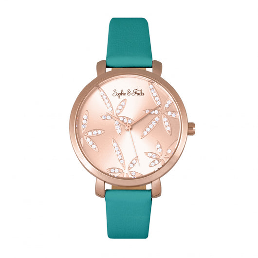 Sophie & Freda Key West Leather-Band Watch w/Swarovski Crystals - Rose Gold/Teal