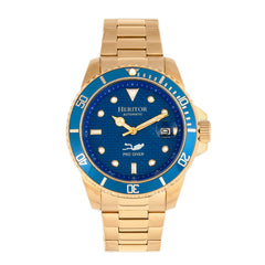 Related product : Heritor Automatic Lucius Bracelet Watch w/Date - Gold/Blue