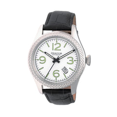 Related product : Heritor Automatic Barnes Leather-Band Watch w/Date - Silver