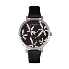 Related product : Sophie & Freda Key West Leather-Band Watch w/Swarovski Crystals - Silver/Black