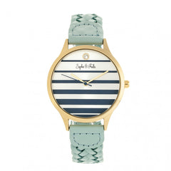 Related product : Sophie & Freda Tucson Leather-Band Watch w/Swarovski Crystals - Gold/Light Blue
