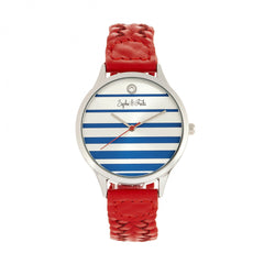 Related product : Sophie & Freda Tucson Leather-Band Watch w/Swarovski Crystals - Silver/Red