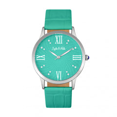 Related product : Sophie & Freda Sonoma Leather-Band Watch w/Swarovski Crystals - Silver/Teal