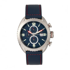 Related product : Morphic M64 Series Chronograph Leather-Band Watch w/ Date - Silver/Blue