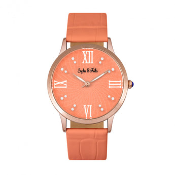 Sophie & Freda Sonoma Leather-Band Watch w/Swarovski Crystals - Rose Gold/Coral