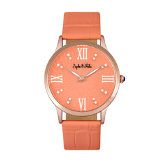 Related product : Sophie & Freda Sonoma Leather-Band Watch w/Swarovski Crystals - Rose Gold/Coral