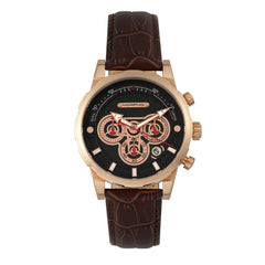 Related product : Morphic M60 Series Chronograph Leather-Band Watch w/Date - Rose Gold/Brown